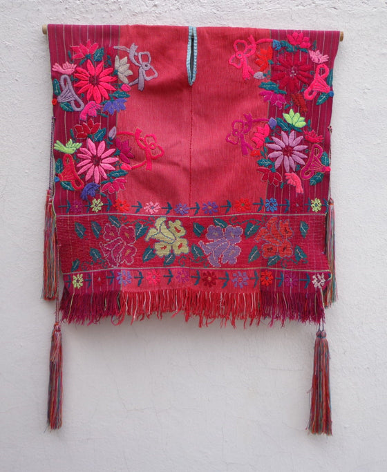 Flowers Embroidered Mexican Woven Poncho Cape True Vintage
