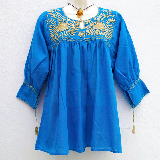 Mexican Huipil Blouse Hand Embroidery from Chiapas S, M
