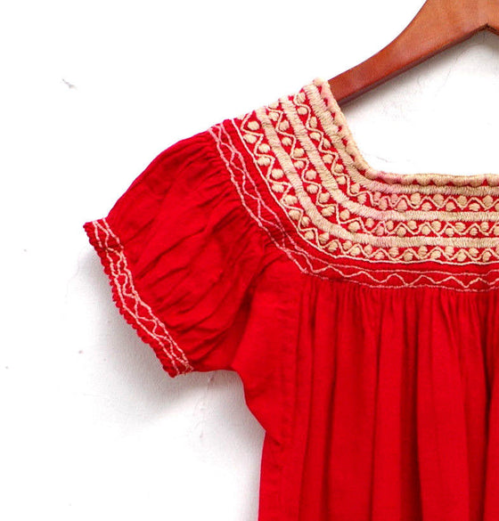 Red and Cream Mexican Huipil Blouse Embroidered Girl's 4-5 years