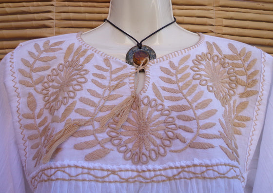 Mexican Peasant Blouse Huipil Hand Embroidery with Flowers Design M