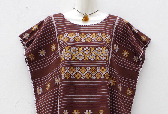 Mexican Women's Amuzgo Brown Dress Huipil Tunic Flowers Design XXL