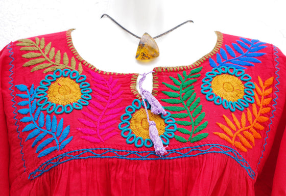 Red Embroidered Mexican Huipil Top Peasant Blouse M/L