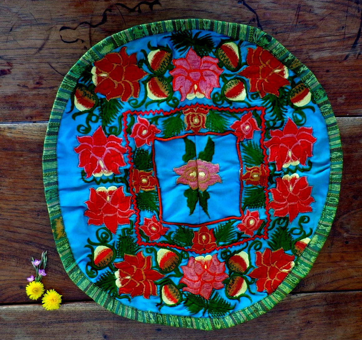 Guatemala Pillow Cushion Cover Mayan with Colorful Flowers Embroidered