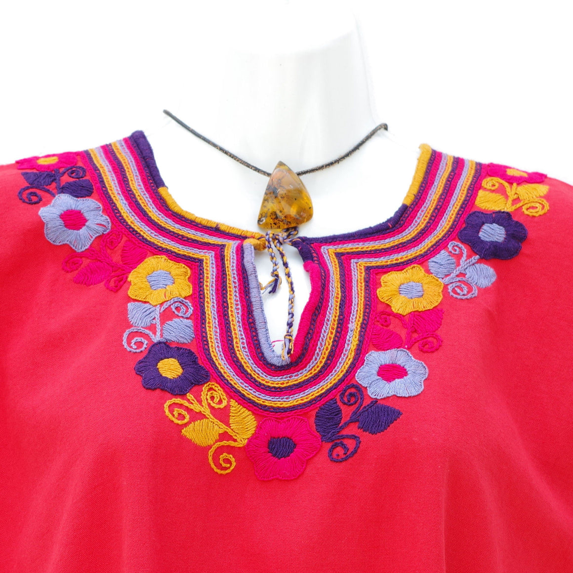 Embroidered Red Mexican Huipil Blouse Tunic Top Peasant M/L/XL