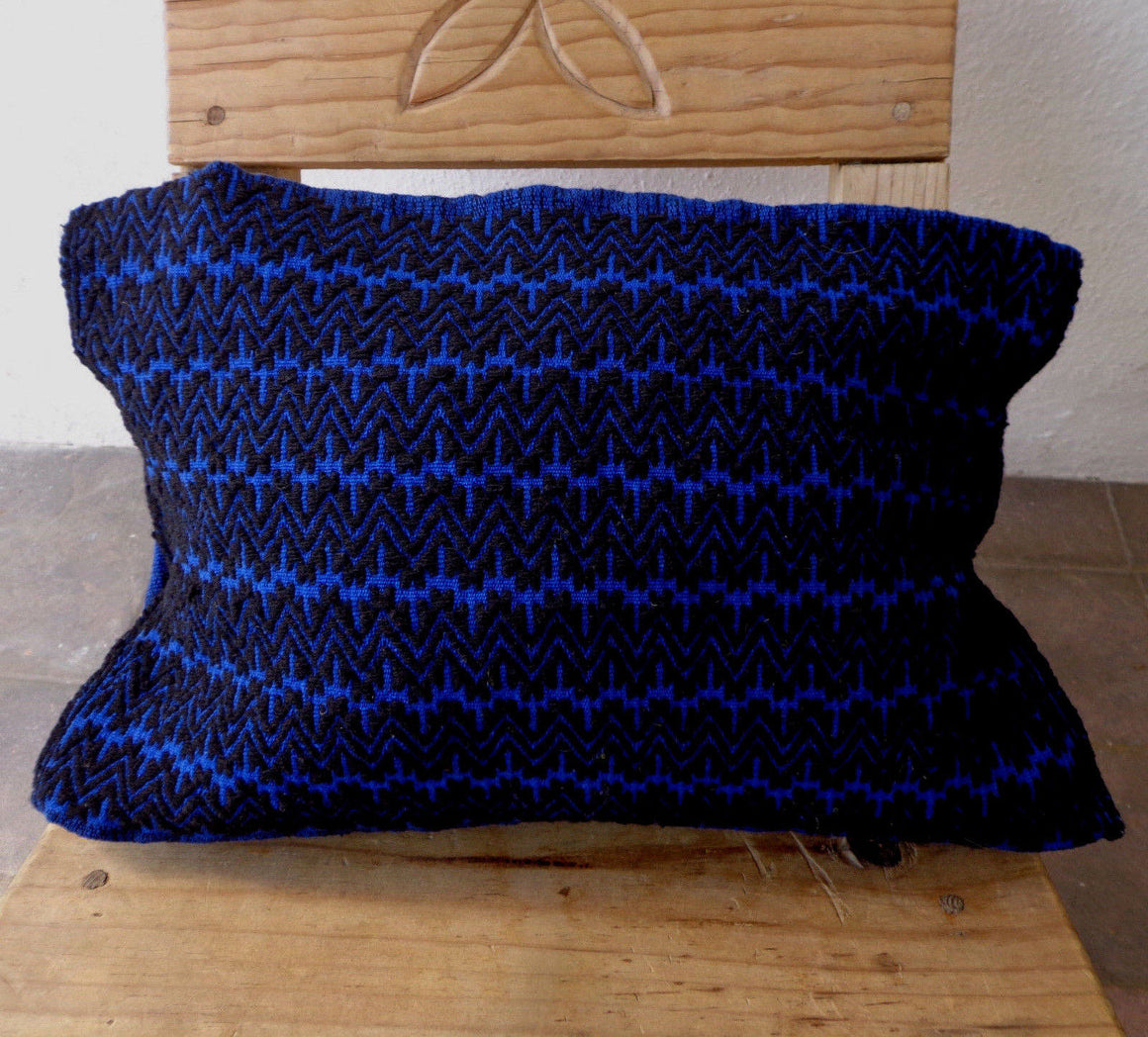 Blue Cushion Cover Woven Woolen Cotton Mayan Mexican Chiapas