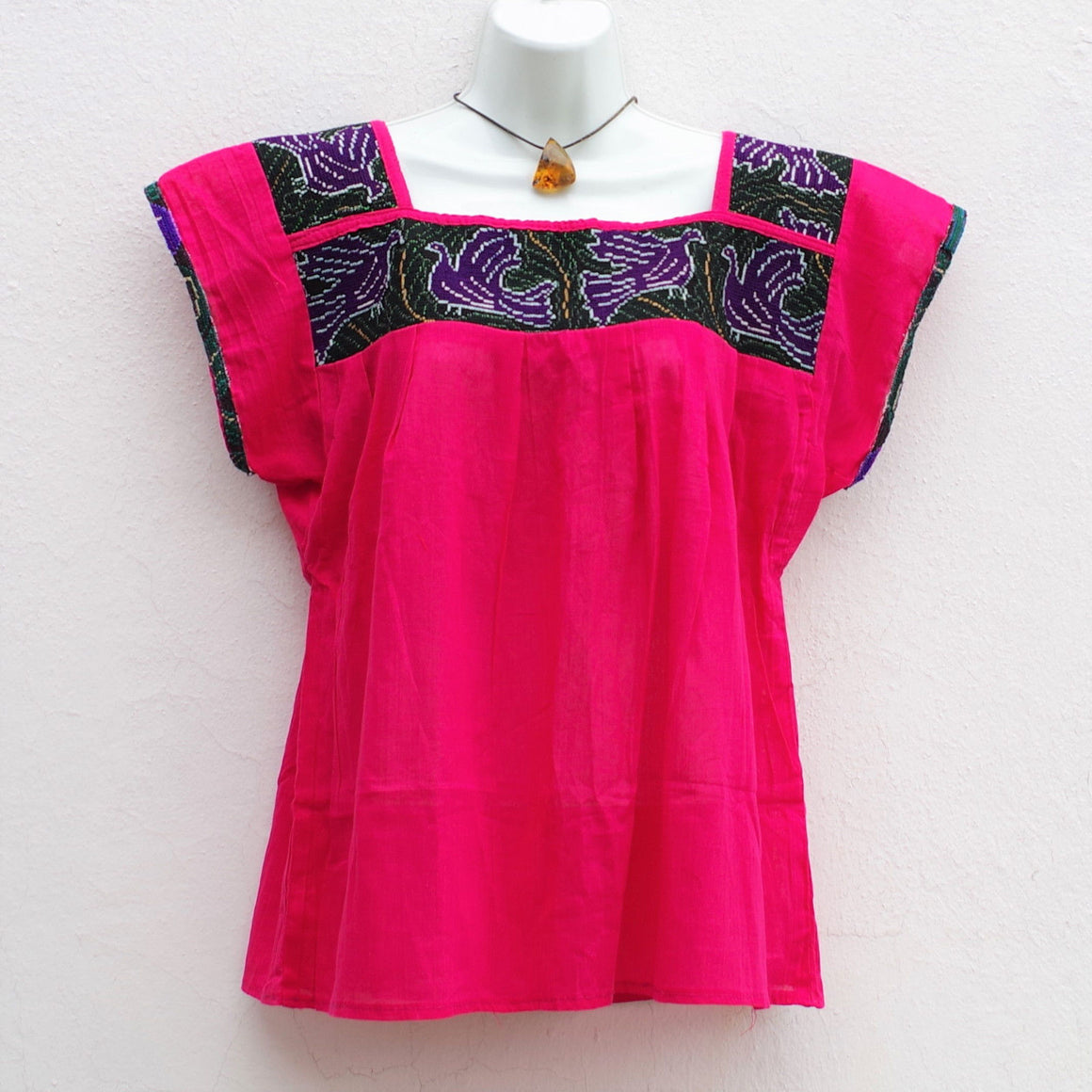 Mexican Peasant Blouse Huipil with Vintage Birds Embroidery S, M