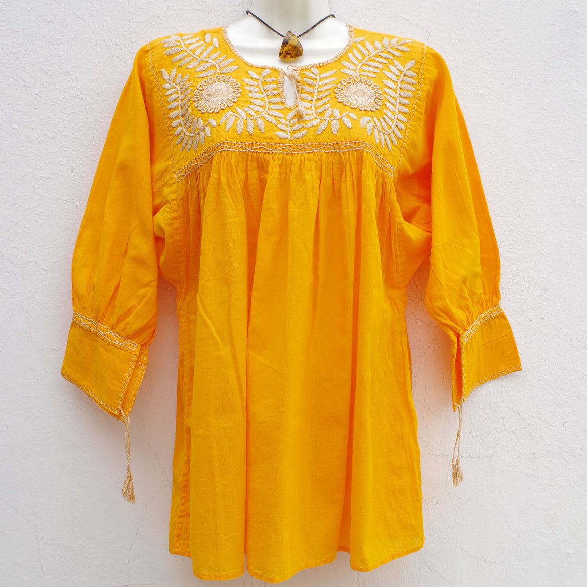 Yellow and Cream Mexican Huipil Blouse Tunic Embroiderd M/L
