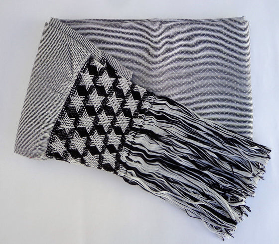 Mexican Handwoven Gray Rebozo Sarape Shawl Wrap Pareo Scarf Runner From Tenancingo