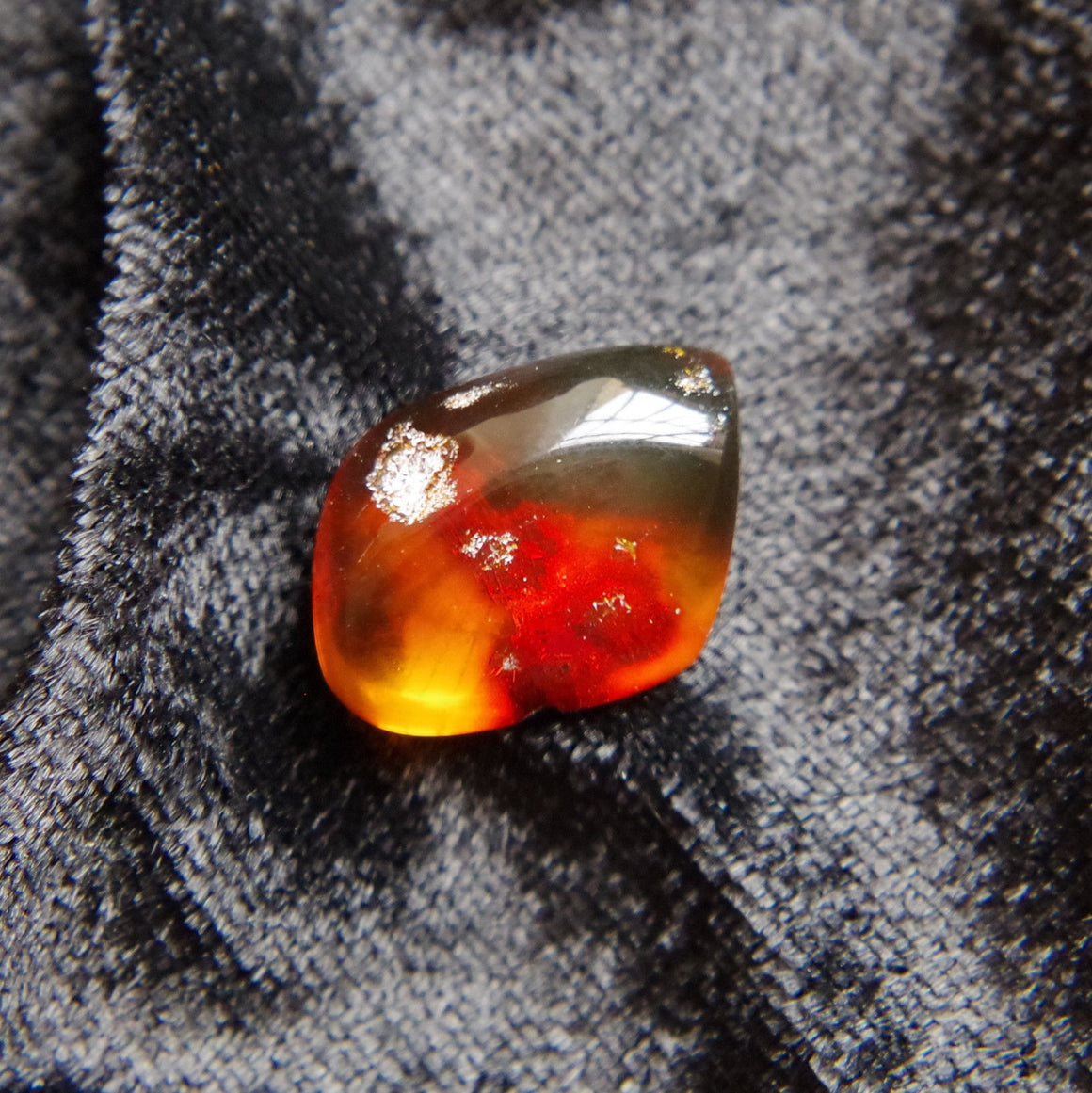 Red Green Mexican Amber Stone Fossil Polished Great Clarity 2.6g