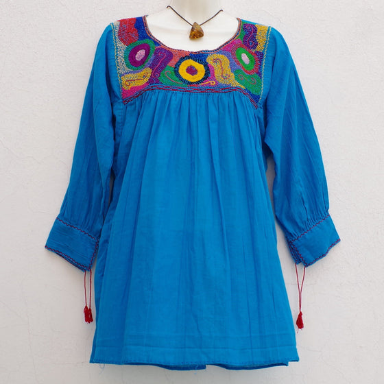 Turquoise Multicolor Mexican Huipil Peasant Blouse Boho Chic Embroidered M/L