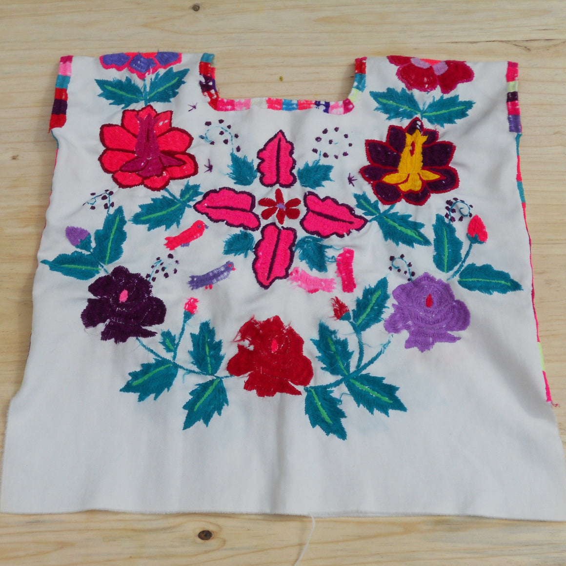 True Vintage Embroidered Mexican Huipil Blouse with Flowers Well Preserved