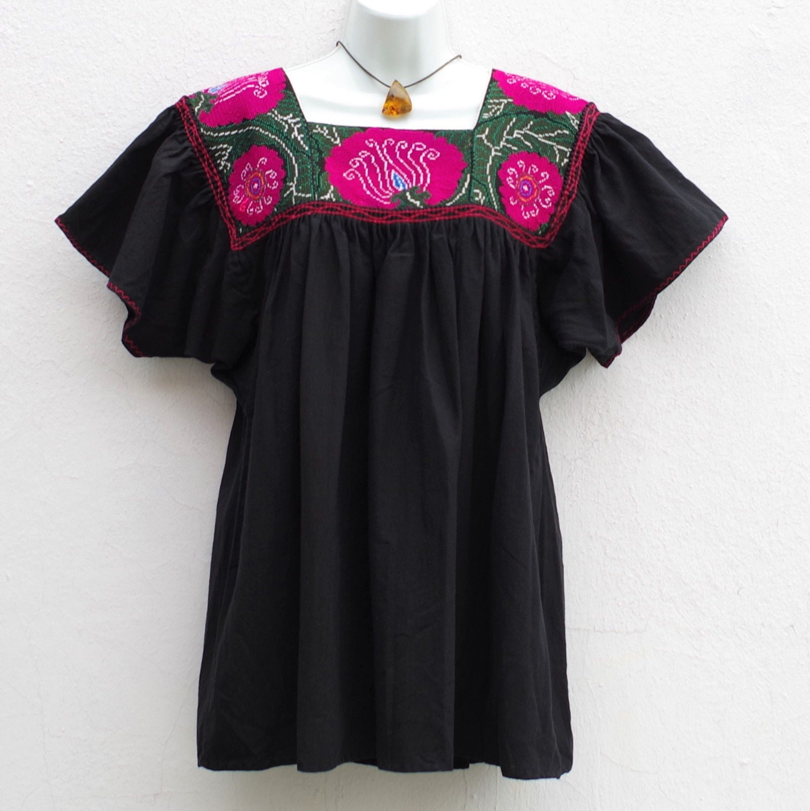 ... Black Mexican Peasant Blouse Huipil Vintage Flowers Embroidered Chiapas  M, L ... - Black Mexican Peasant Blouse Huipil Vintage Flowers Embroidered