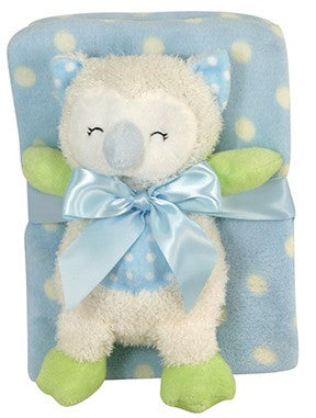 Stephan Baby - Blue Owl Blanket and Toy Set