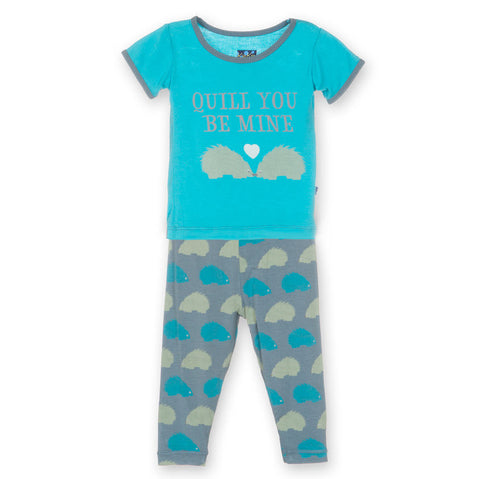 Kickee Pants Dusty Sky Porcupine Short Sleeve Pajama Set