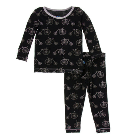 Kickee Pants Boy Midnight Bikes Long Sleeve Pajama Set
