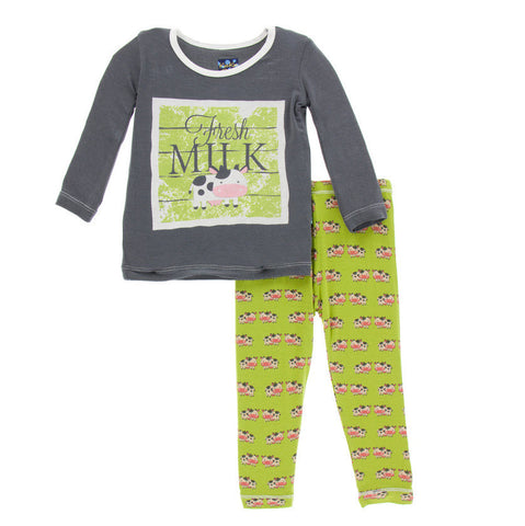 Kickee Pants Meadow Cow Long Sleeve Pajama Set