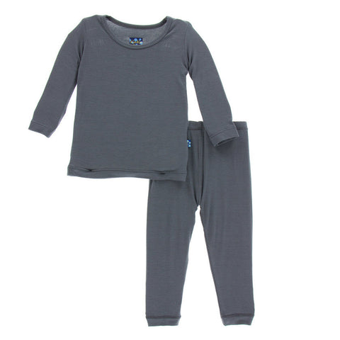 Kickee Pants Solid Stone Long Sleeve Pajama Set