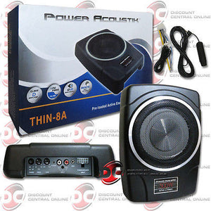 "POWER ACOUSTIC 8"" SLIM UNDER SEAT SUB WOOFER WITH AMPLIFIER FOR FORD PICK UP"