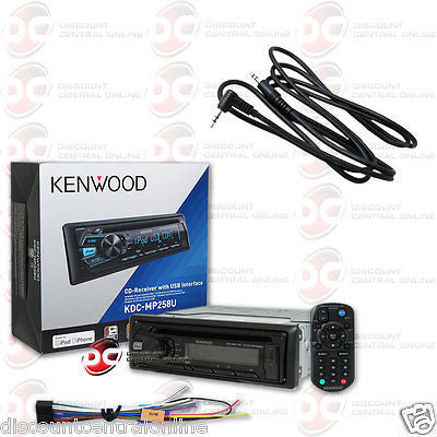 "KENWOOD KDC-MP258U CAR AUDIO SINGLE DIN CD MP3 USB STEREO ""FREE"" 3.5mm AUX CABLE"