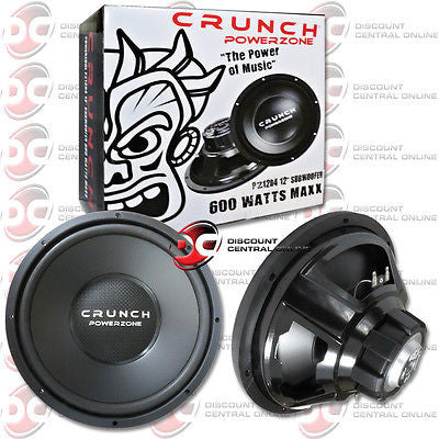 "CRUNCH PZ12D4 12"" CAR AUDIO 4-OHM SUBWOOFER 600W MAX WOOFER"