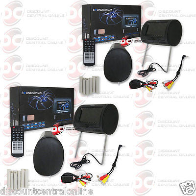 "2 x SOUNDSTREAM VHD-70CC 7"" LCD DISPLAY HEADREST MONITOR & DVD CD USB MP4 PLAYER"