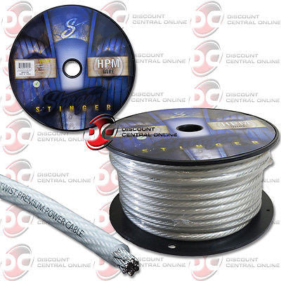 STINGER 4 GAUGE MATTE CLEAR HYPER FLEX POWER/ GROUND CABLE 100 FEET