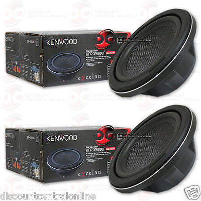 "2 x KENWOOD KFC-XW800F 8"" SINGLE 4-OHM SHALLOW MOUNT CAR SUBWOOFER 150W RMS"
