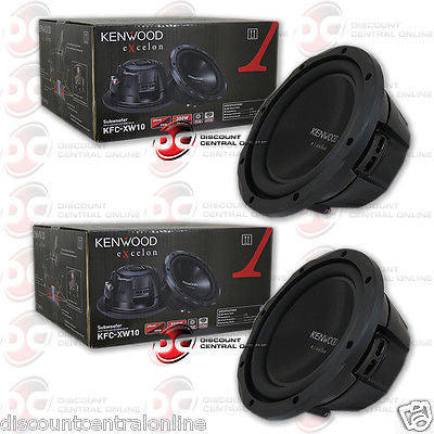 "2 x KENWOOD KFC-XW10 4-OHM 10"" CAR AUDIO SUBWOOFER W/ SINGLE VOICE COIL 300W RMS"