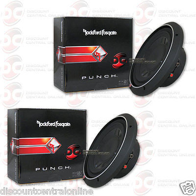 "2 x ROCKFORD FOSGATE P3SD4-10 10"" DUAL 4-OHM CAR AUDIO SHALLOW MOUNT SUBWOOFER"