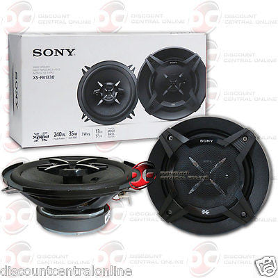 "NEW SONY XS-FB1330 5.25"" 3-WAY CAR AUDIO COAXIAL SPEAKERS (PAIR) 5-1/4"""