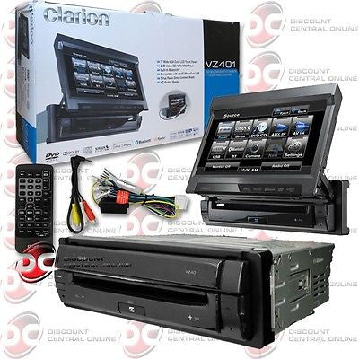 "NEW CLARION CAR SINGLE DIN 1DIN 7"" FLIP-OUT MOTORIZED DVD CD PLAYER W/ BLUETOOTH"