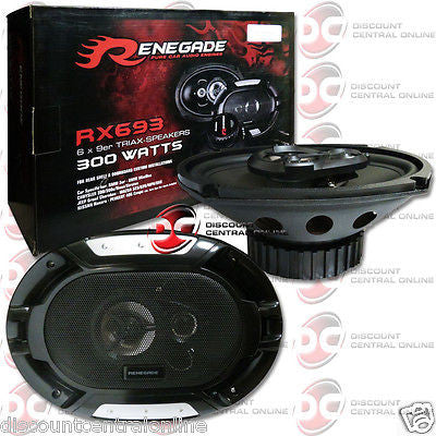 "Renegade 6x9-inch 6x9"" 3-way car audio coaxial speakers pair 600w max"