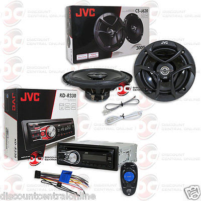 "JVC KD-R330 1-DIN CAR AUDIO CD MP3 AUX STEREO WITH  6.5"" 2-WAY COAXIAL SPEAKERS"