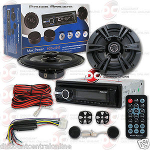 "POWER ACOUSTIK PACKAGE PCD-4165 CAR SINGLE DIN STEREO W/ 6.5"" 2-WAY CAR SPEAKERS"