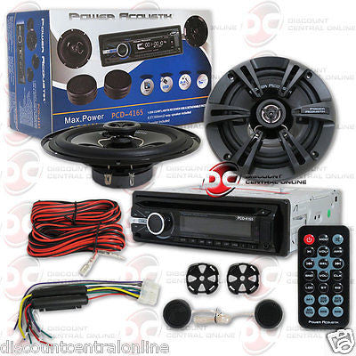 POWER ACOUSTIK PACKAGE PCD-4165 CAR SINGLE DIN STEREO W/ 6.5