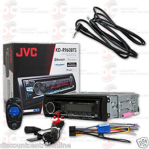 "JVC KD-R960BTS DIN CAR AUDIO CD MP3 USB BLUETOOTH STEREO ""FREE"" 3.5mm AUX CABLE"