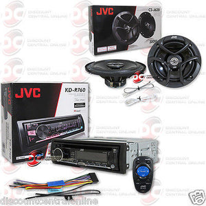 "JVC KD-R760 1-DIN CAR AUDIO STEREO CD MP3 USB STEREO WITH CS-J620 6.5"" SPEAKERS"
