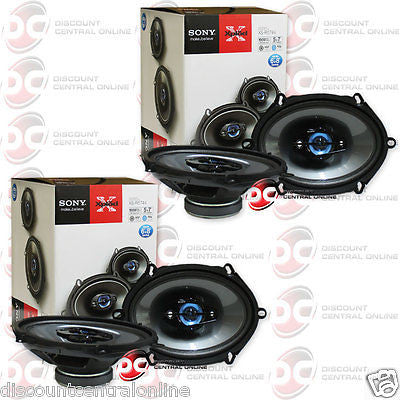 "4 x BRAND NEW SONY 5x7-INCH 5x7"" 4-WAY CAR AUDIO COAXIAL SPEAKERS"