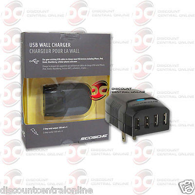 SCOSCHE QUSBH PORTABLE 4 PORT USB WALL CHARGER FOR MP3 IPOD IPHONE AND MORE