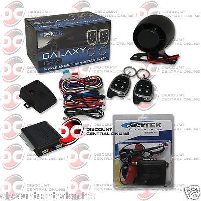 SCYTEK G27 CAR ALARM WITH KEYLESS ENTRY & TWO 5-BUTTON REMOTES PLUS MobiLink 100