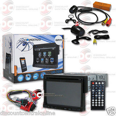 "SOUNDSTREAM VR-730B 1-DIN 7"" LCD DVD CD BLUETOOTH STEREO ""FREE"" 170° REAR CAMERA"
