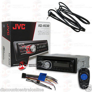 "JVC KD-R330 1-DIN CAR STEREO CD MP3 RECEIVER W/ AUX-IN ""FREE"" 3.5mm AUX CABLE"