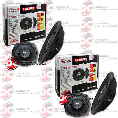 "2 x EARTHQUAKE SWS-8Xi 8"" SHALLOW MOUNT CAR SUBWOOFER FITS FACTORY BMW BOBBIN"