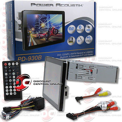 POWER ACOUSTIK PD-930B 1-DIN DVD/CD RECEIVER W/ 9.3