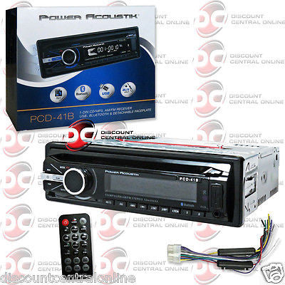 POWER ACOUSTIK  PCD-41B SINGLE DIN CAR CD AM FM USB STEREO WITH BLUETOOTH & AUX