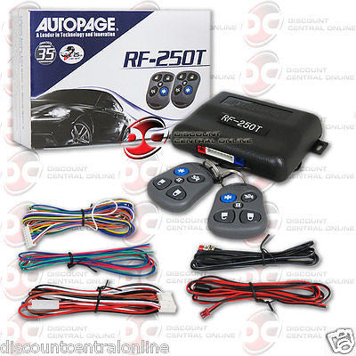 AUTOPAGE RF-250T 1-WAY KEYLESS ENTRY CAR ALARM SYSTEM WITH 2 5-BUTTON REMOTES