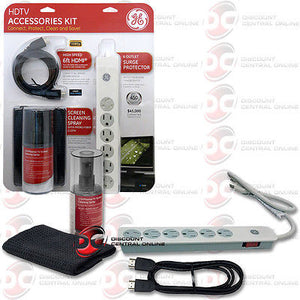 NEW GE 73550 HDTV 3 IN 1 ACCESSORIES KIT CLEANER,HDMI CABLE AND SURGE PROTECTOR