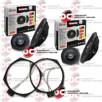 "2 x EARTHQUAKE SWS-8Xi 8"" CAR SUBWOOFER W/ RING ADAPTERS FITS FACTORY BMW BOBBIN"