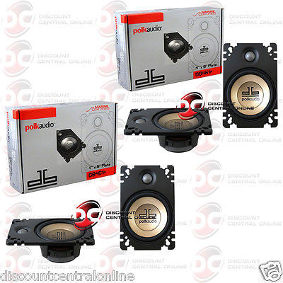 "4 x Polk Audio DB461P 4"" x 6"" Car Audio Coaxial Speakers"