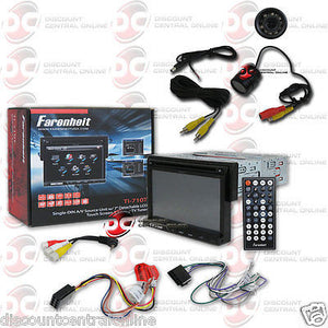 "FARENHEIT TI-710T CAR 1-DIN 7"" TOUCHSCREEN LCD CD DVD STEREO FREE REAR CAMERA"